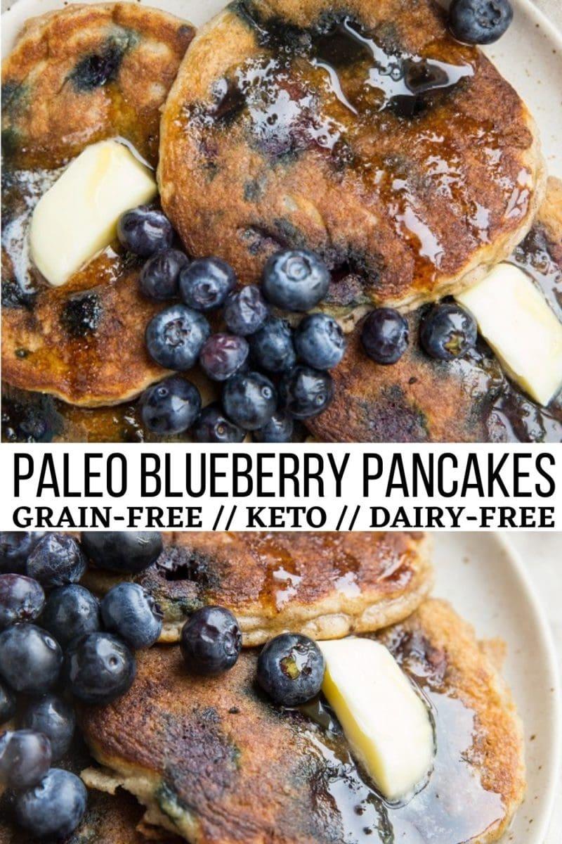 Paleo Blueberry Pancakes with coconut flour - grain-free, keto, dairy-free, healthy pancake recipe