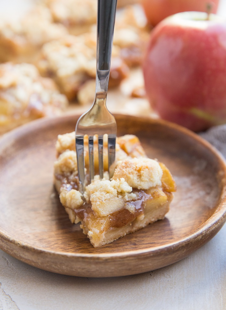 Vegan Paleo Apple Pie Bars made with only 6 ingredients! Grain-free, refined sugar-free, dairy-free and delicious!