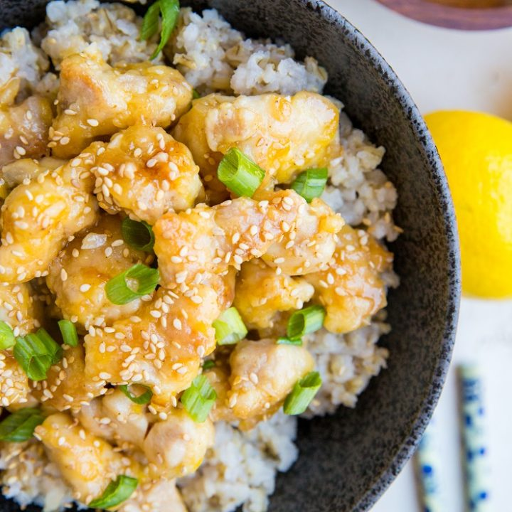 Paleo Chinese Lemon Chicken made soy-free, gluten-free, and refined sugar-free. An easy Chinese takeout recipe that is a healthy alternative!