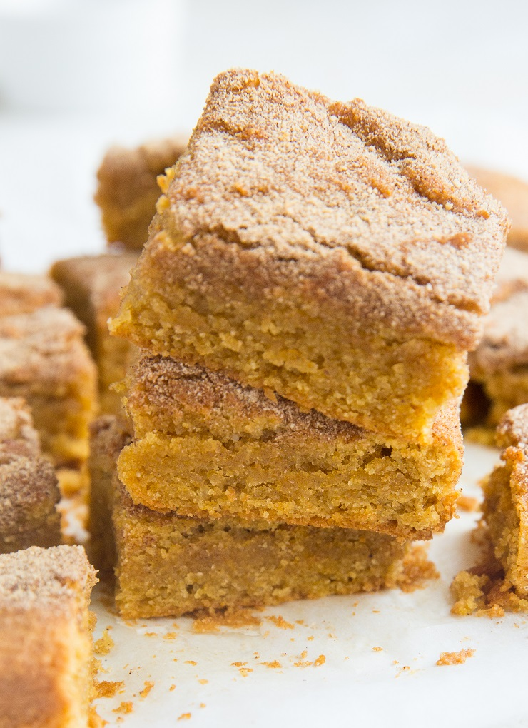 Paleo Pumpkin Snickerdoodle Cookie Bars - grain-free, dairy-free, cinnamon and sugar sprinkled cookie bars