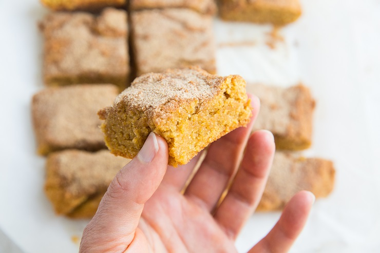 Paleo Pumpkin Snickerdoodle Cookie Bars - made with almond flour - grain-free, dairy-free healthier snickerdoodle recipe