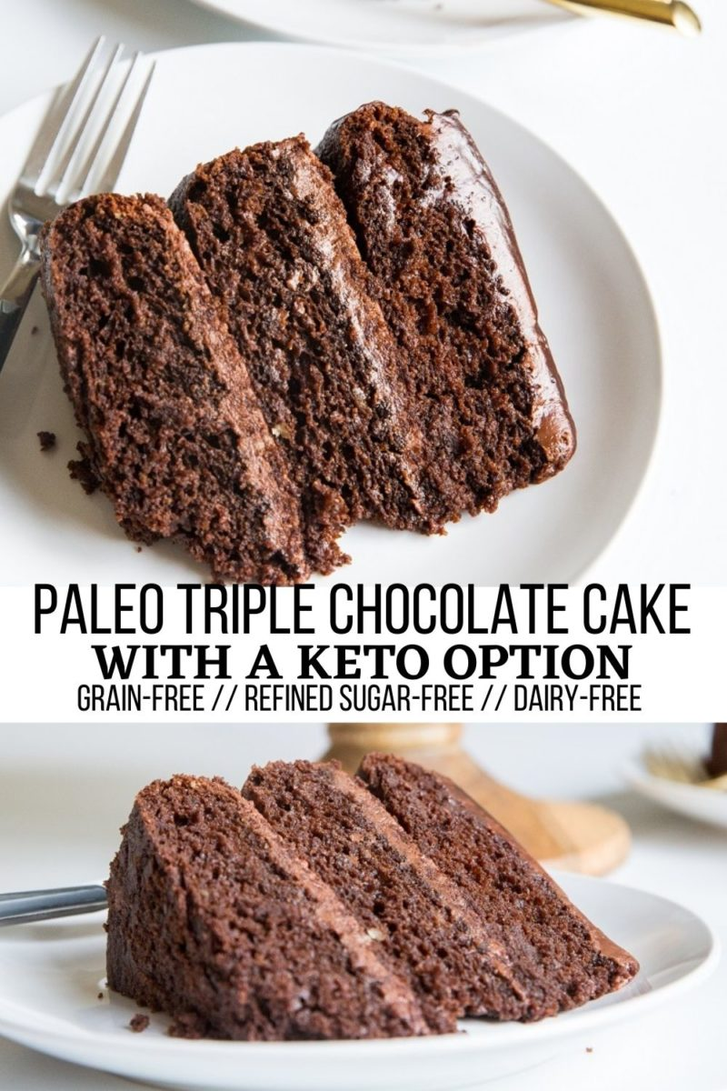 Paleo Triple Chocolate Cake - grain-free, refined sugar-free, easy to make dairy-free, includes options for sweeteners. An amazingly moist, decadent, rich chocolate cake!
