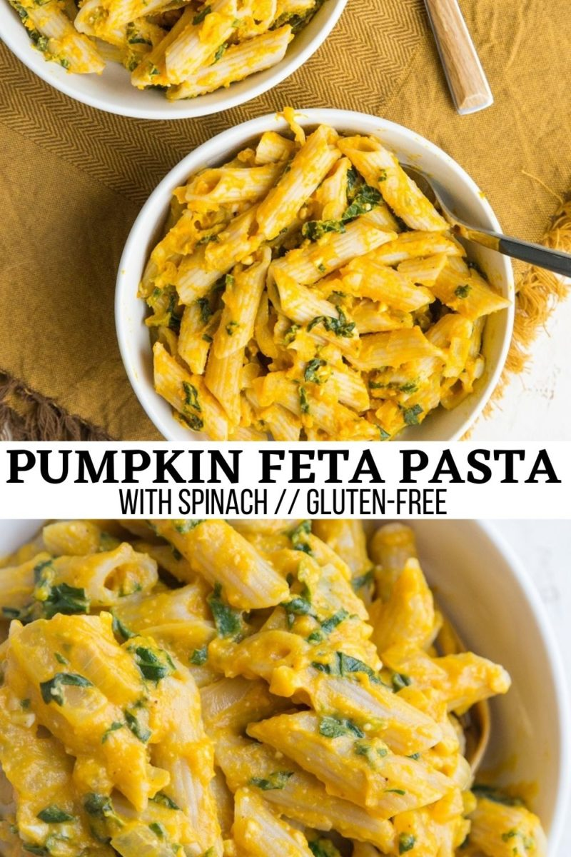 Gluten-Free Pumpkin Feta Pasta with spinach, onion and garlic for a lusciously creamy and delicious light pasta recipe