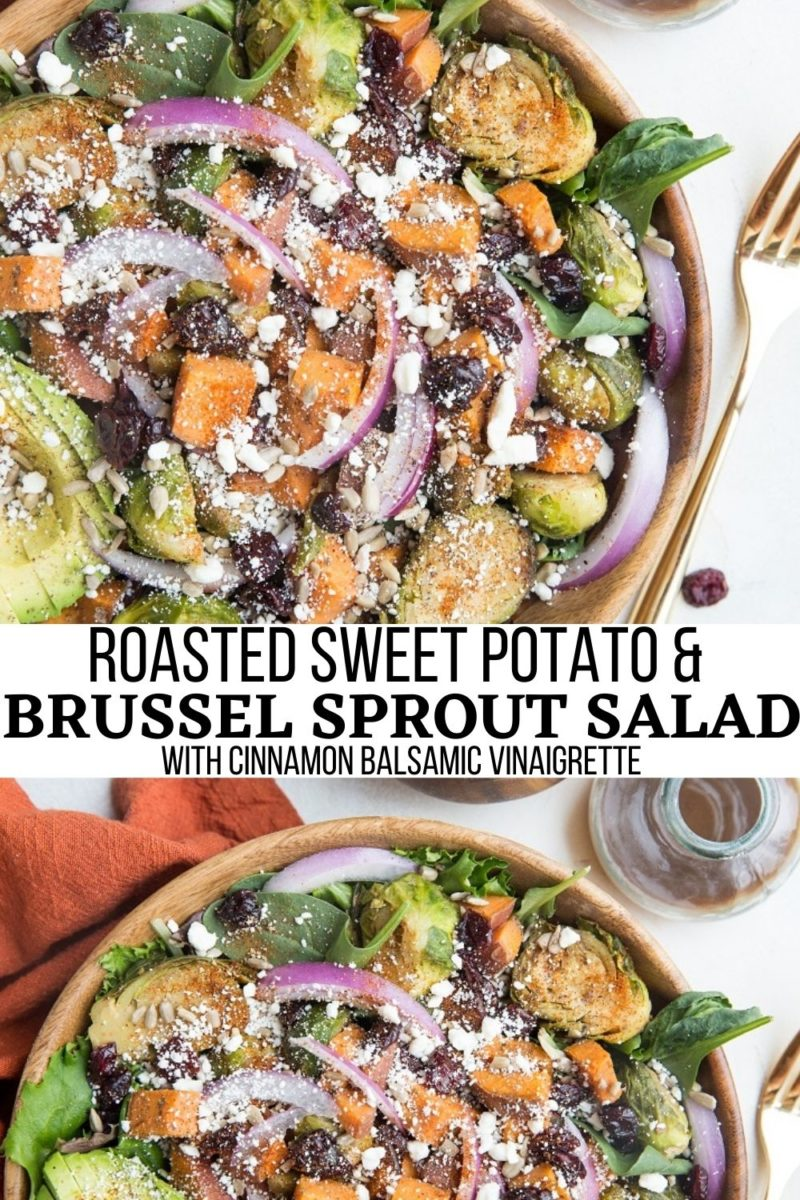 Roasted Sweet Potato and Brussel Sprout Salad with Cinnamon Balsamic Dressing is a nutritious fall-inspired salad