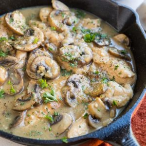 Dairy-Free Paleo Keto Creamy Mushroom Chicken. An easy 30-minute recipe that is loaded with flavor and luscious cream sauce.