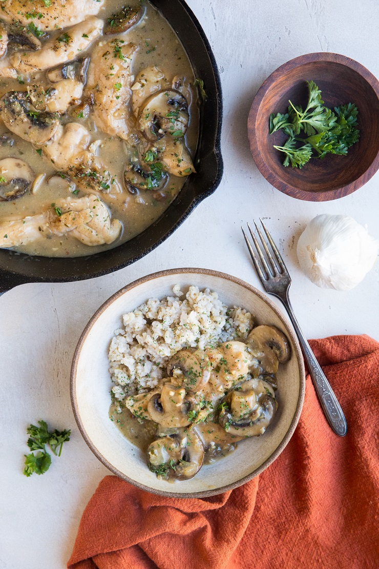 Serve mushroom chicken with brown rice or noodles