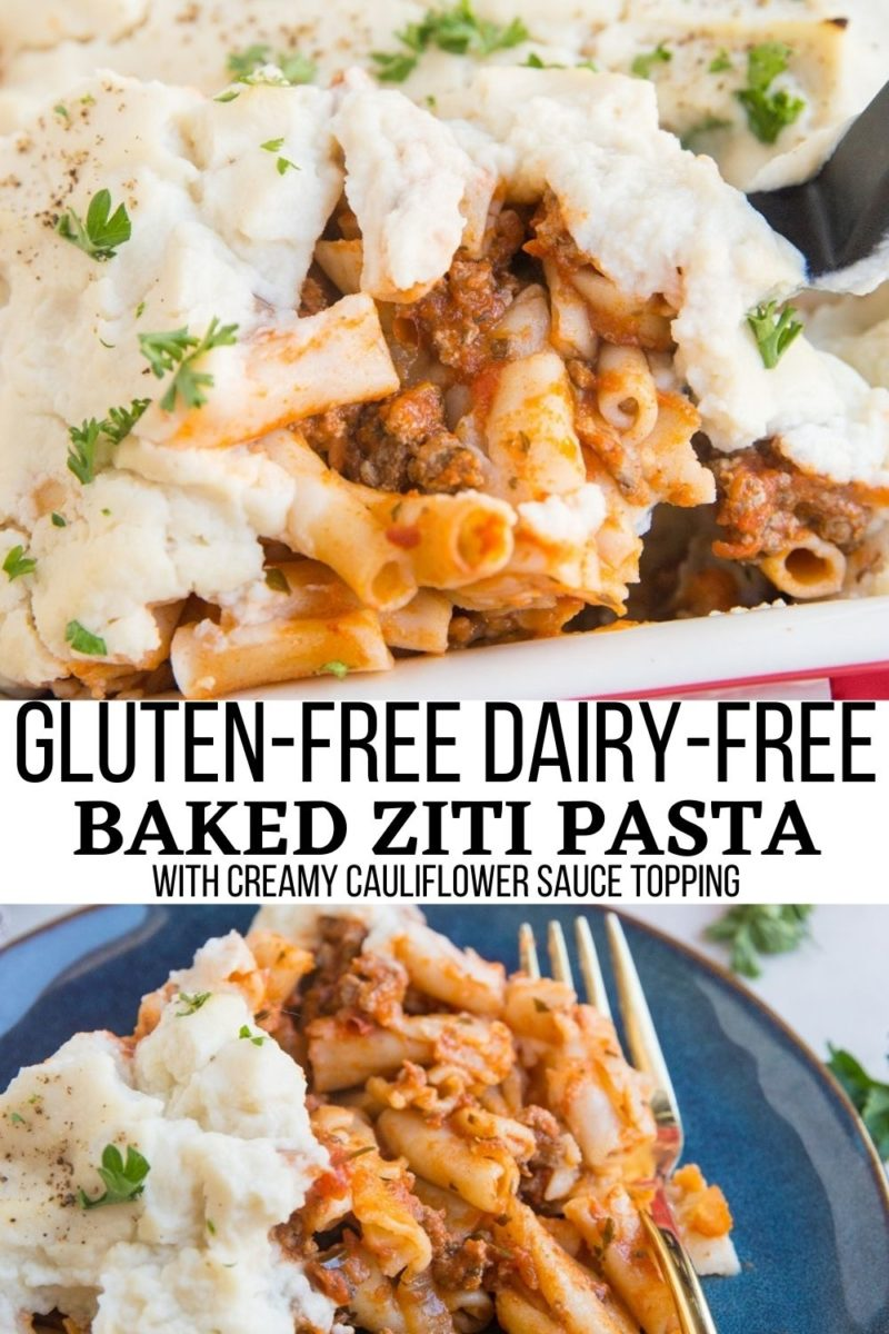 Gluten-Free Dairy-Free Baked Ziti is a magnificently comforting dinner casserole with a tomato-based meat sauce and a creamy dairy-free cauliflower sauce for the topping.