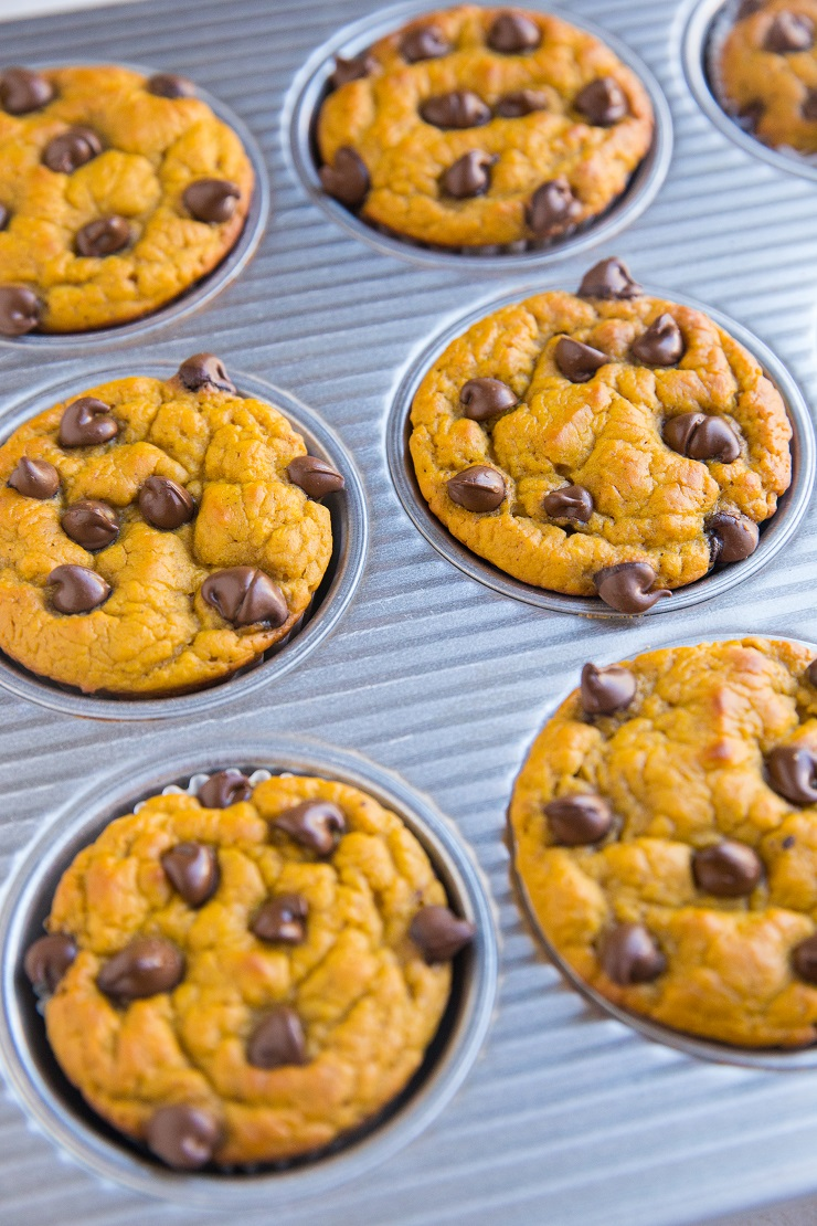 Gluten-Free Healthy Chickpea Pumpkin Muffins with chocolate chips. Flourless, dairy-free, refined sugar-free, delicious and healthy breakfast