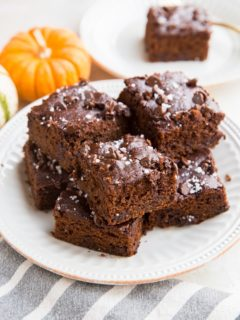 Flourless Rolled Oat Pumpkin Brownies made refined sugar-free, dairy-free, and healthier. A magically delicious dessert or snack!