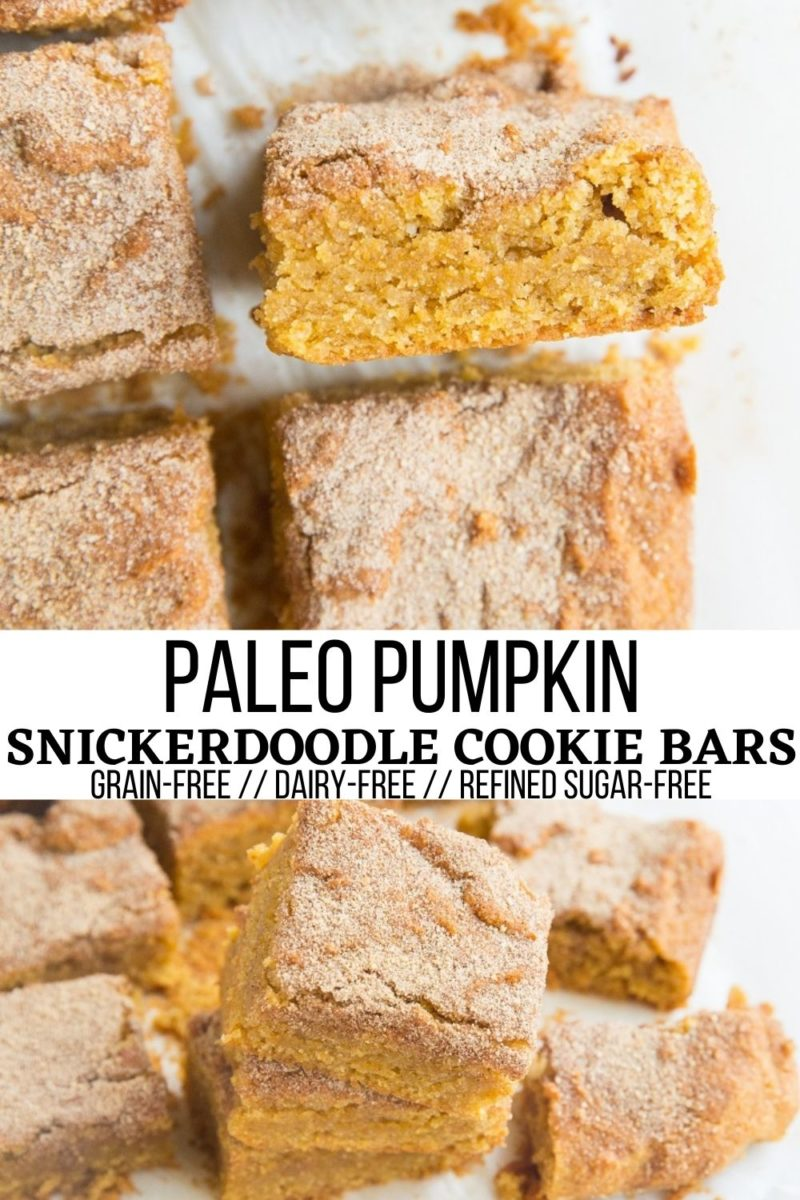 Paleo Pumpkin Snickerdoodle Cookie Bars - grain-free, refined sugar-free, dairy-free pumpkin spice cookie bars with cinnamon and sugar topping